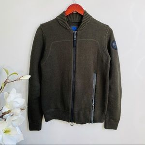 North Sails military green fullzip sweater